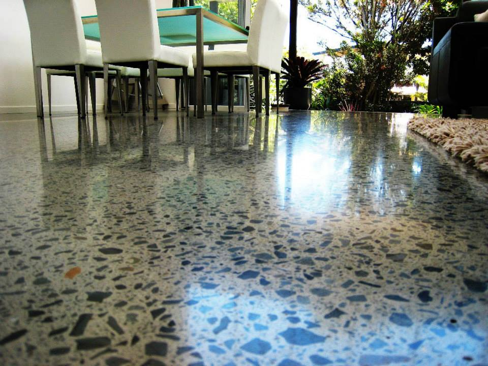 Speckled epoxy flooring in restaurant.